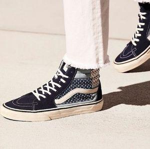VANS BLUE Patchwork preowned hi top sneakers